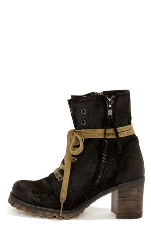 MTNG 90231 Callie Wax Black Suede High Heel Boots