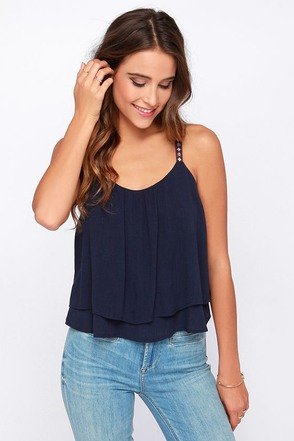 Up and Away Navy Blue Crop Top at Lulus.com!