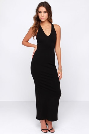 Fit to Thrill Black Bodycon Maxi Dress at Lulus.com!