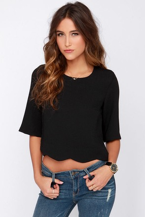 Scallop Your Game Black Crop Top at Lulus.com!