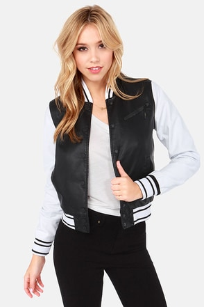Hurley Fury Black and White Baseball Jacket