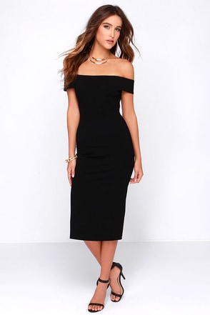 LULUS Exclusive Night and Day Black Off-the-Shoulder Midi Dress at Lulus.com!
