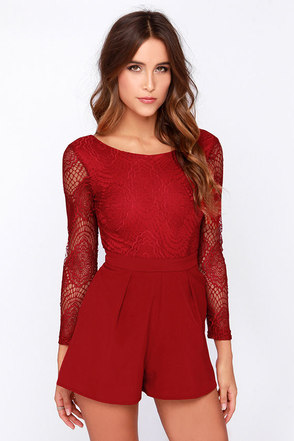 Tell Me Something Wine Red Lace Romper at Lulus.com!