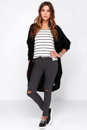 Glamorous Pants De Leon Distressed Dark Grey Skinny Jeans at Lulus.com!