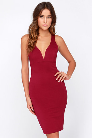 That Thing You Do Wine Red Bodycon Dress at Lulus.com!