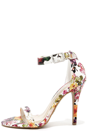 Anne Michelle Enzo 01Y White Floral Print Single Strap Heels at Lulus.com!