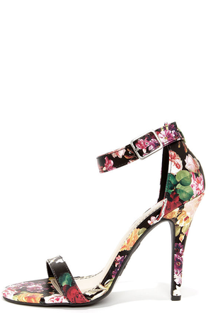 Anne Michelle Enzo 01Y Black Floral Print Single Strap Heels at Lulus.com!