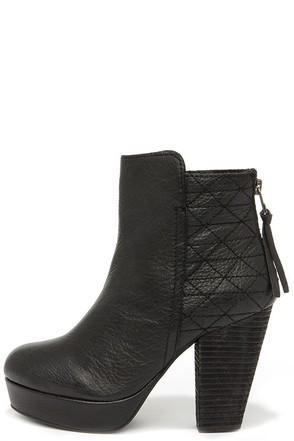 Steve Madden Roadruna Black Leather High Heel Boots at Lulus.com!