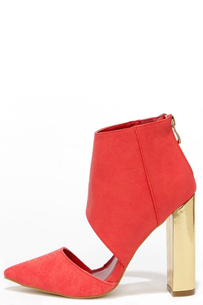 Craze the Roof Coral Cutout Booties at Lulus.com!