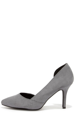 Cut Away We Go Grey Suede D'Orsay Pumps at Lulus.com!