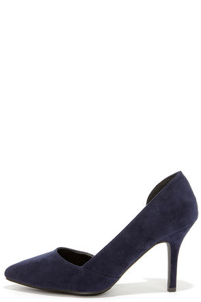 Cut Away We Go Navy Blue Suede D'Orsay Pumps at Lulus.com!