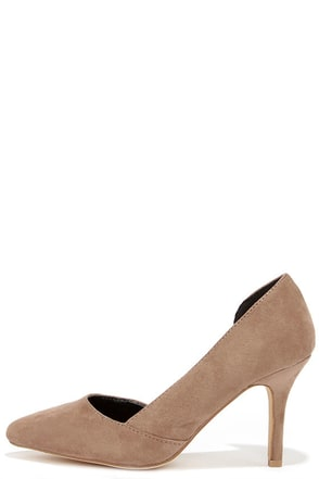Cut Away We Go Taupe Suede D'Orsay Pumps at Lulus.com!