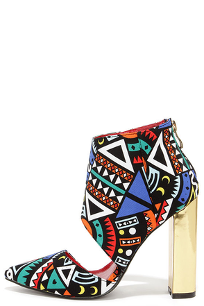 Craze the Roof Multi Print Cutout Booties at Lulus.com!