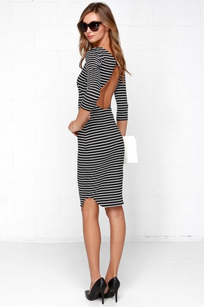 The Fifth Label No Time to Waste Black Striped Midi Dress at Lulus.com!