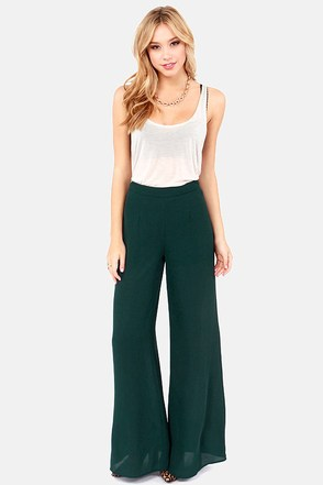 Dearest Pen Palazzo Dark Teal Wide-Leg Pants