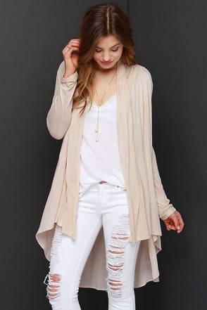 Checking In Light Beige Cardigan Sweater at Lulus.com!