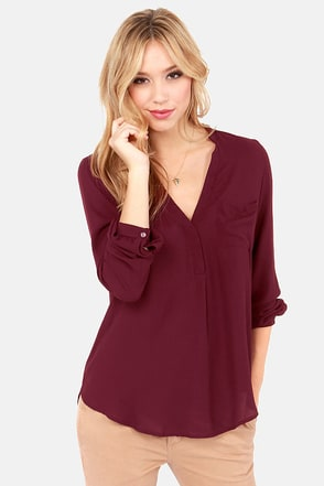 So Much in Love Burgundy Top