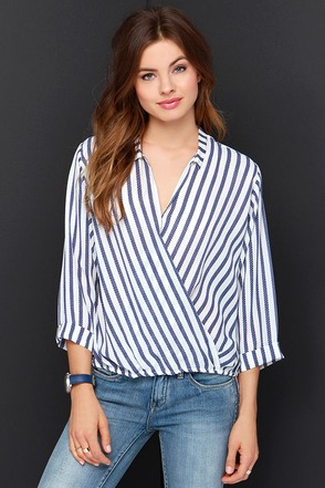 Stripe Me Up Ivory and Navy Blue Striped Top at Lulus.com!
