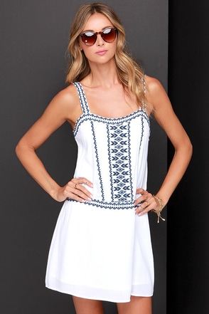 Olive & Oak Down Time Embroidered Ivory and Navy Blue Dress at Lulus.com!