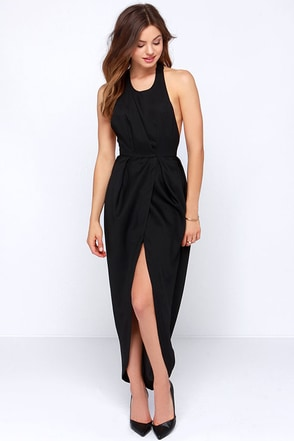 Passion for Fashion Backless Black Maxi Dress at Lulus.com!