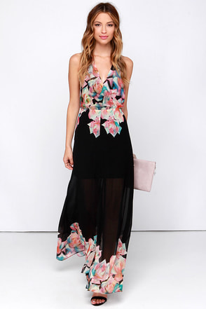 Watercolor Me Impressed Backless Black Floral Print Maxi Dress at Lulus.com!