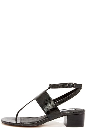 Steve Madden Verro Black Snake Strappy Thong Sandals at Lulus.com!