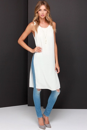 Catch Twenty Tunic Ivory Maxi Top at Lulus.com!