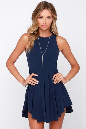 Pleat My Shorts Navy Blue Romper at Lulus.com!