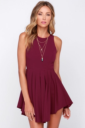 Pleat My Shorts Burgundy Romper at Lulus.com!