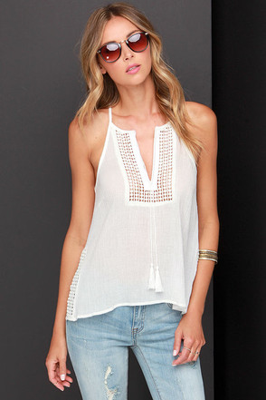 Side of Crochet Ivory Tank Top at Lulus.com!