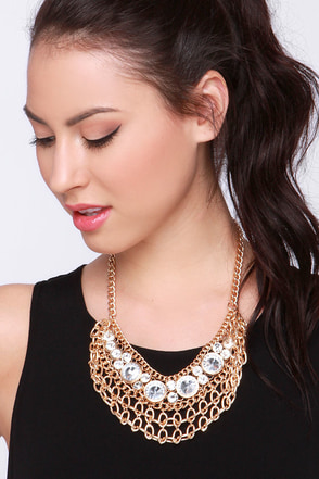 Fit for a Queen Gold Rhinestone Statement Necklace at Lulus.com!
