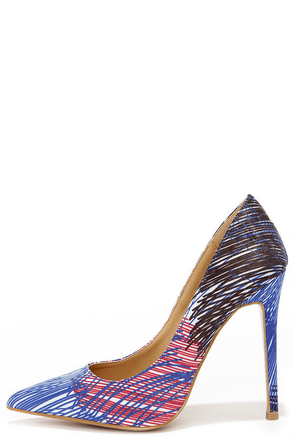 Marks the Hot Cobalt Blue Print Pointed Pumps at Lulus.com!