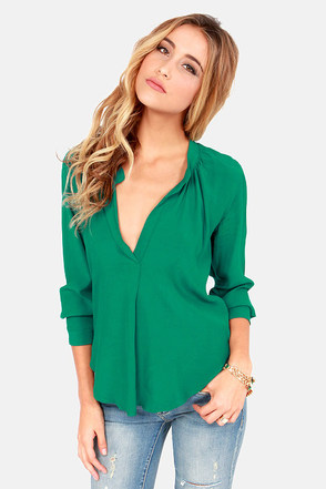 Green Silk Blouse Long Sleeve