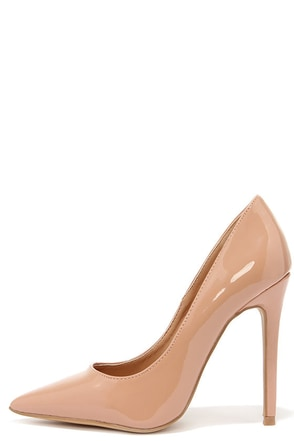 Aisle Be Waiting Nude Patent Pointed Pumps at Lulus.com!