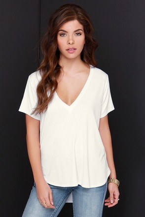Oh V Oh My Ivory V Neck Tee at Lulus.com!