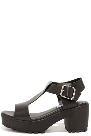Steve Madden Stefano Black Leather Platform Sandals at Lulus.com!