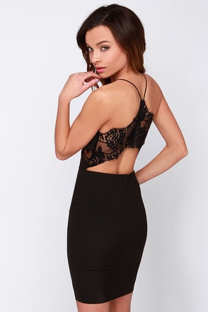 Charm and Lace Black Lace Dress at Lulus.com!