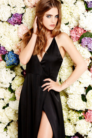LULUS Exclusive Long Answer Black Wrap Maxi Dress at Lulus.com!