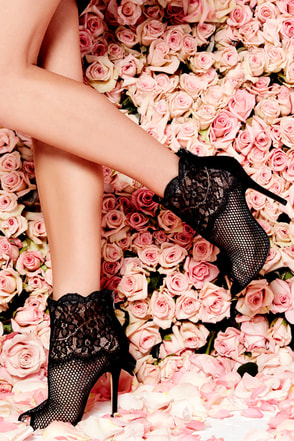 Chinese Laundry Jeopardy Black Mesh and Lace Booties at Lulus.com!