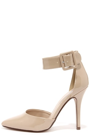 My Delicious Aveta Dark Beige Patent Ankle Strap Heels at Lulus.com!