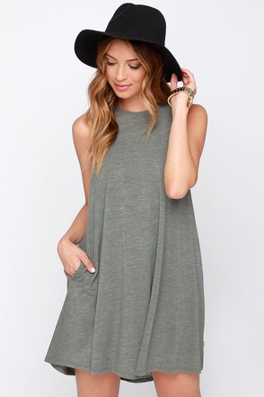RVCA Sucker Punch Olive Green Dress at Lulus.com!