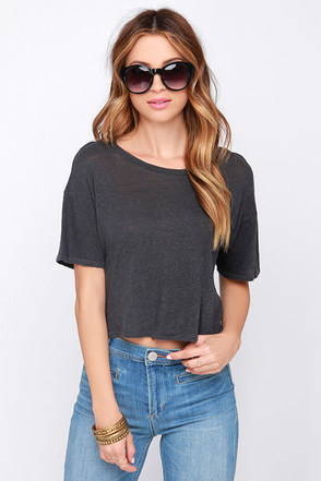 Amuse Society Harper Charcoal Grey Crop Top at Lulus.com!