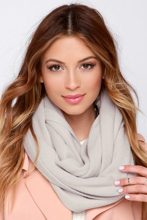 Layer She Goes Light Grey Infinity Scarf at Lulus.com!