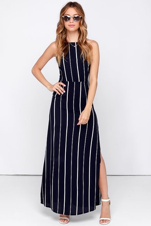 Faithfull the Brand Cherry Blues Navy Blue Striped Maxi Dress at Lulus.com!