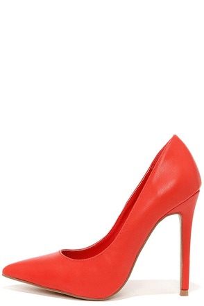 Click Your Heels Red Pointed Pumps at Lulus.com!