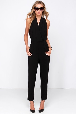 Suit Up to Chance Black Jumpsuit at Lulus.com!