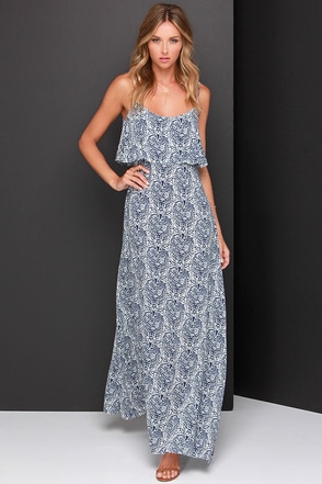 Island Time Ivory and Navy Blue Print Maxi Dress at Lulus.com!