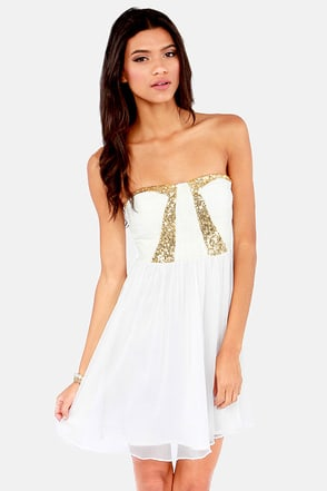 Treasure Hunt Strapless Ivory Sequin Dress