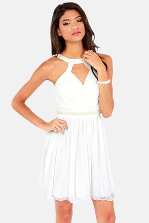 Seeing Bubbles Beaded White Dress