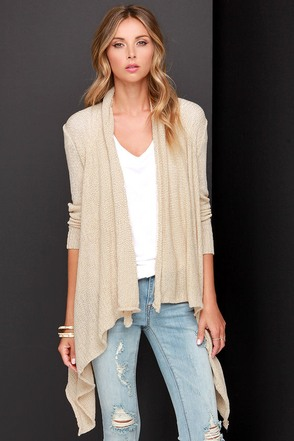Knit Me Up Beige Cardigan Sweater at Lulus.com!